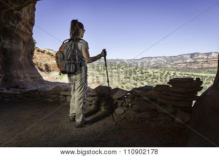 Woman Inside Indian Ruin Hike