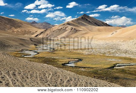 Beautiful Landscape In Rupshu Valley Near Moriri Lake