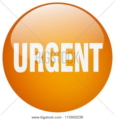 Urgent Orange Round Gel Isolated Push Button