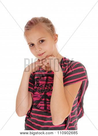 Young Girl With Hands Under Chin.