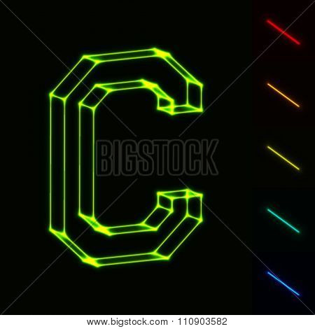 EPS10 vector glowing wireframe letter C - easy to change color