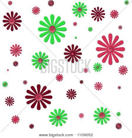 Flowers And Buttons Background