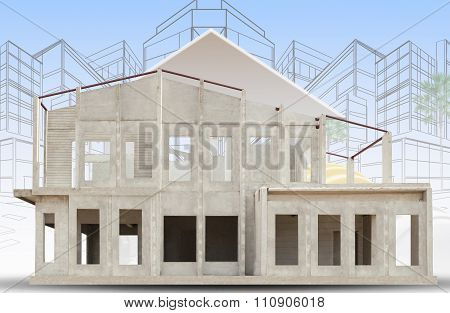 Frame Of Knock Down House Isolated White Background Use For Construction Industry ,and Real Estate P