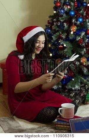 Girl Reading On Christmas