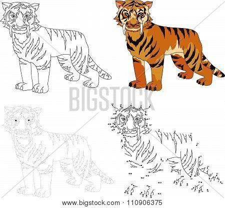 Cartoon Saber-toothed Tiger. Vector Illustration. Dot To Dot Game For Kids