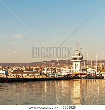 Varna, Bulgaria - 18 November, 2015: Yacht Club In The Sea Port Of Varna. November 18, 2015 In Varna
