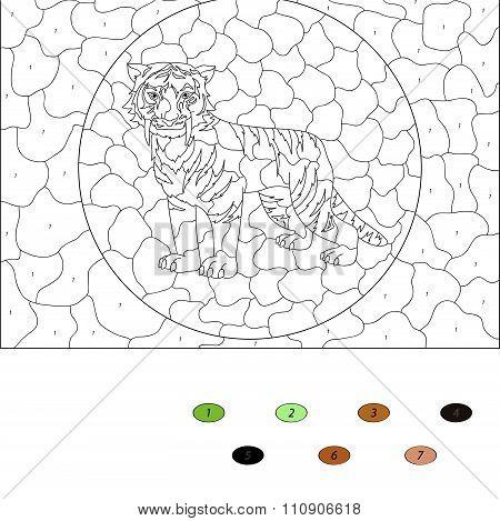 Color By Number Educational Game For Kids. Cartoon Saber-toothed Tiger. Vector Illustration