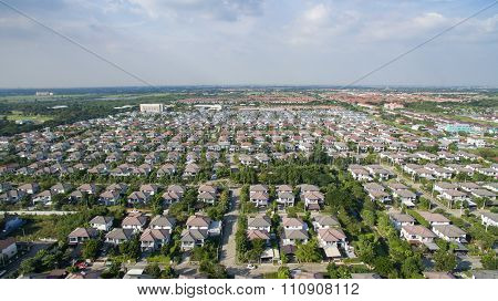 Aerial View Of Good Environment House In Good Development Real Estate For Residential