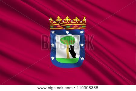 The Flag Of The Madrid, Spain