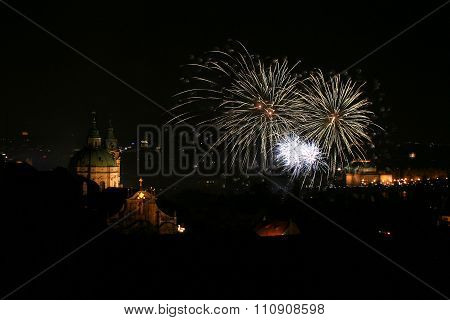 Fireworks in Prague next to Saint Nicolas Church