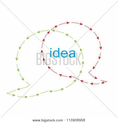 Vector Bubbles For A Chat With The Arrows Red And Green Overlap, The Word Idea In The Middle Of The
