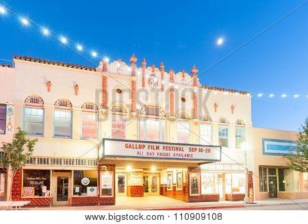 Movie Theatre El Morro In Main Street Scene With Decorative Lighting Gallup New Mexico Route 66.