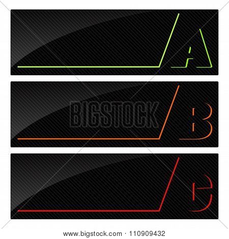 Vector Glossy Banners With Colored Green, Red, Orange Letters A B C On Black Striped Background