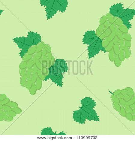 Seamless Pattern with White Grapes on White Background