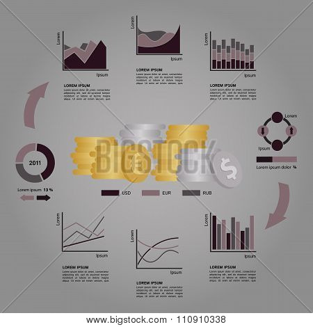 Set of Financial Infographics Elements Arranged in a Circle on Dark Grey Background