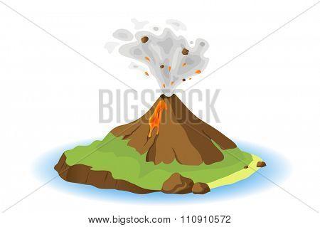 volcano erupting on island, illustration