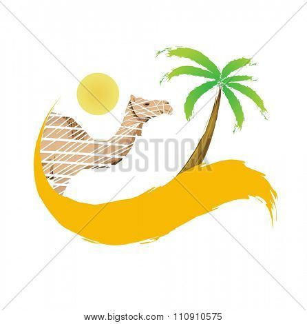 Camel and palm tree in the desert, illustration