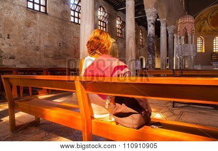 Churchgoer, Basilica Of Sant'eufemia. Grado