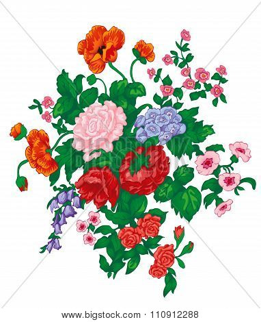 Vector Bouquet With Red Rose, Poppies, Bluebells, Wild Flowers And Green Leaves Isolated On White.