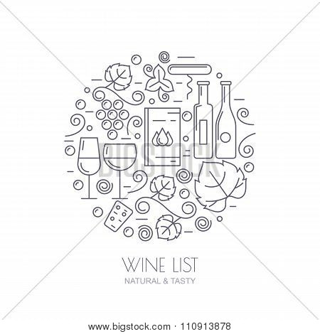 Wine Bottle, Glass, Grape Vine, Leaf Icons. Food And Drink Background.