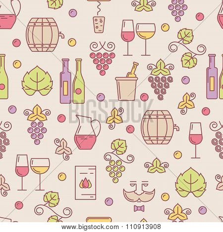 Vector Seamless Pattern With Wine Bottle, Glass, Grape Vine, Leaf.
