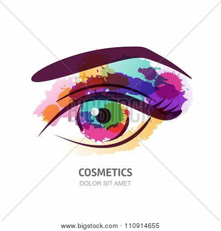 Vector Watercolor Illustration Of The Eye With Colorful Pupil.