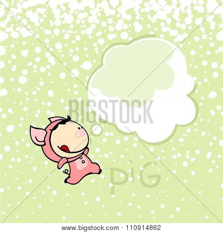 New year greeting card with the Pig and thought bubble window for your text (raster version)