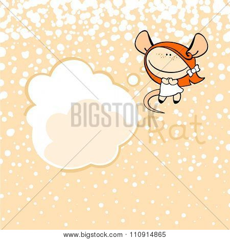 New year greeting card with the Rat and thought bubble window for your text (raster version)
