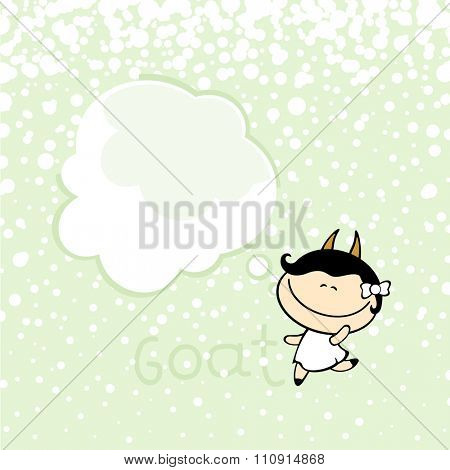 New year greeting card with the Goat and thought bubble window for your text (raster version)