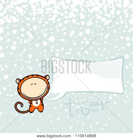 New year greeting card with the Tiger and speech bubble window for your text (raster version)
