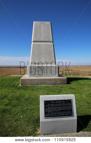 U.s. Army Memorial On Last Stand Hill At Little Bighorn Battlefield National Monument, Montana, Usa.