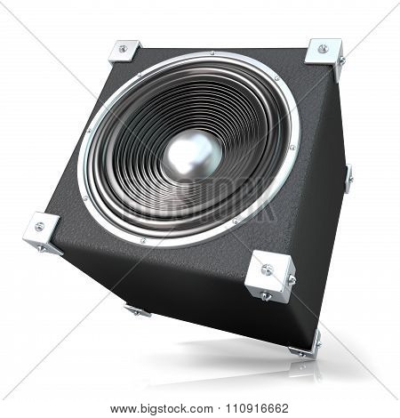 Black audio speaker 3D. Side angled view.