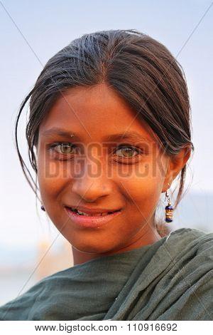 Jaipur, India - November 13: Unidentified Girl (portrait) Stands By Man Sagar Lake On November 13, 2