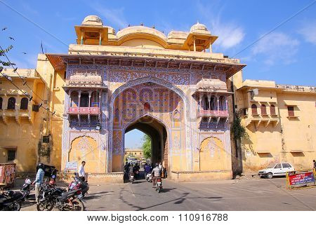 Jaipur, India - November 14: Entrance Gate Of City Palace On November 14, 2014 In Jaipur, India. Pal