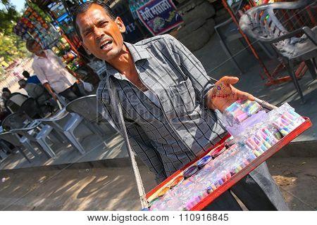 Jaipur, India - November 14: Unidentified Man Sells Paint Sets Near City Palace On November 14, 2014