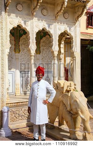 Jaipur, India - November 14: Unidentified Man Stands At City Palace On November 14, 2014  In Jaipur,