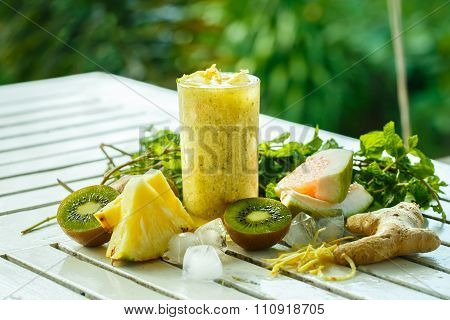 Smoothies Of Kiwi And Pineapple On The Table