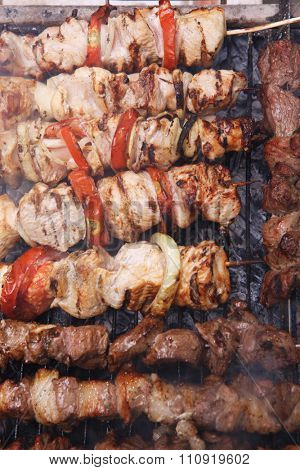fresh raw beef fillet steak red meat and white chicken brisket on skewers barbecue brazier grid full burned charcoal