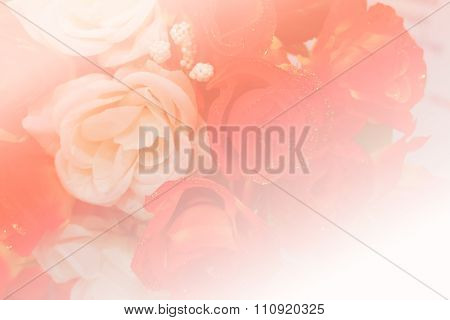 Bouquet Of Fake White And Red Rose
