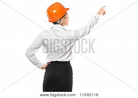 A Female Architect Pointing