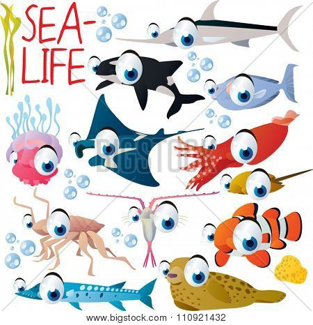 big vector set of funny comic cartoon animals: sea life: orca, sward fish, manta ray, jelly fish, squid, seal, barracuda, isopod, plankton, clown fish, unicorn fish
