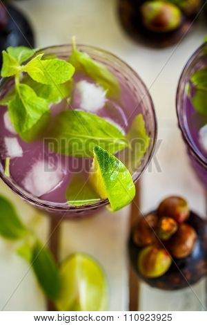 Juice With The Mangosteen, Lime And Mint. Top View