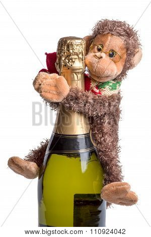 Funny Christmas Background - Knitted Monkey Hold Noel Wine Bottle, Symbol To Merry Christmas And Hap