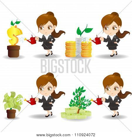 Cartoon Businesswoman With Money Tree