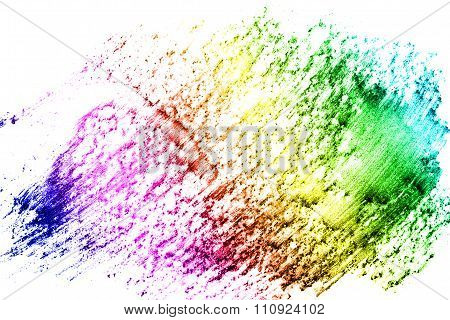 Abstract Multicolored Pencil On A White Background Texture.