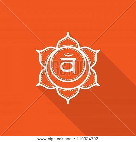Svadhisthana.  Beautiful Indian Ornamental 7 Chakras Collection. Vector Illustration. Color Yoga Cha