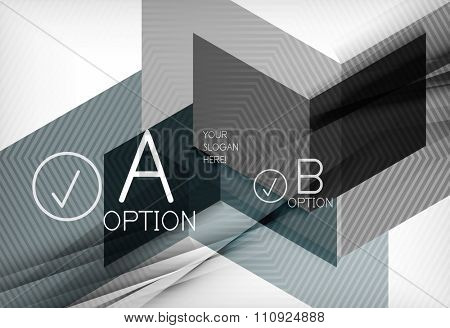 Geometric shapes with option elements. Infographic, message abstract background. Vector illustration