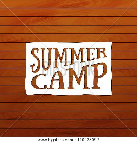 Summer Camp Badge, Outdoor Logo. Emblems And Labels, White Paper And Wood Background. Greeting Card
