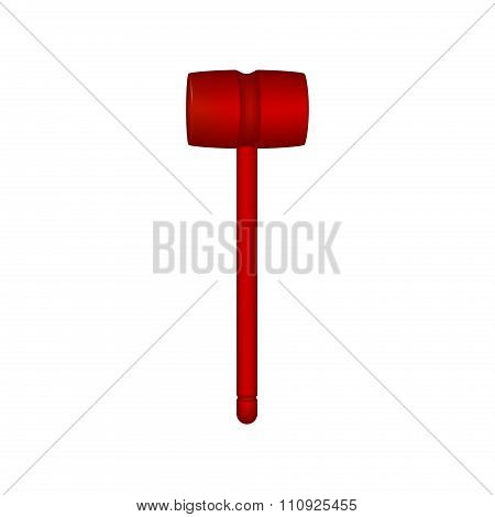 Wooden mallet in red design