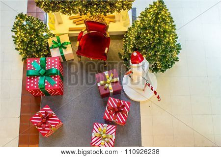 Home Showcase Interior, Christmas Decoration On Living Space.